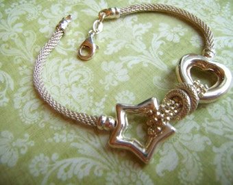 STERLING BRACELET   Heart and Star Sterling Silver Bracelet with Sterling Mesh Chain  Valentines Day Gift