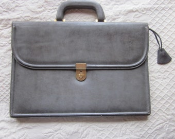 gray leather briefcase, mexico, excellent, with key, school bag, attache case