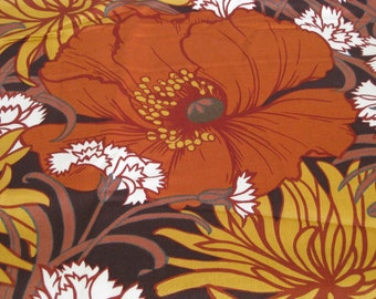 Vintage orange poppy and mum cotton chinz fabric 3 yds