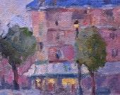 Street Scene French Cityscape  4x4 Original Oil by Kelley