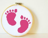 Counted Cross stitch Pattern PDF. Instant download. Baby Footprints. Includes easy beginner instructions.