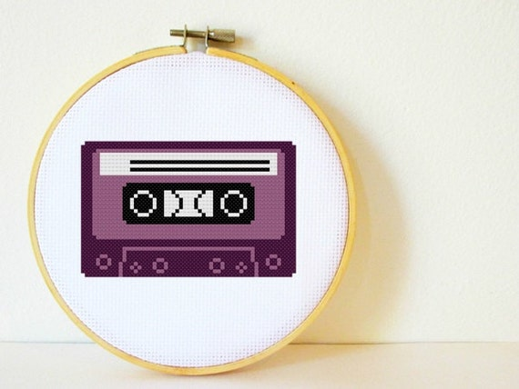 Cross stitch Pattern PDF. Cassette Tape. Includes easy beginners instructions.