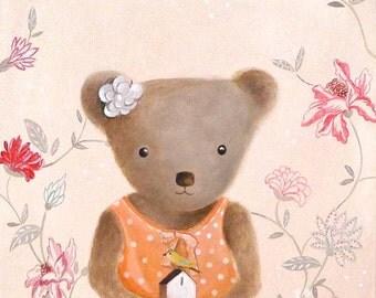 Nursery Art for Kids Room Cute animal art -teddy bear art print - Kids room art whimsical nursery art for girls room teddy bear Nursery Art