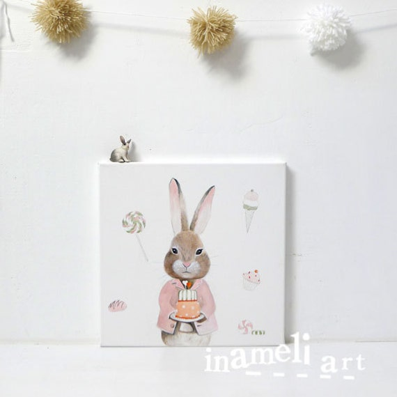 Children's Art, Girls Room Art, Painting, Rabbit, Girl Art Painting, Kids Art, Girls Decor, Cute, Whimsical - Sweet Bunny illustration