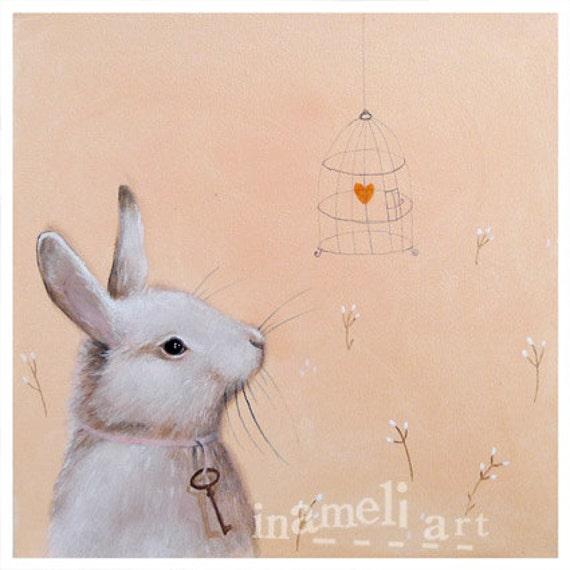 Bunny Art, Nursery Art Print, Bunny Nursery, Bunny Painting, Animal Painting, Nursery wall art, Animal Art, apricot whimsical nursery decor