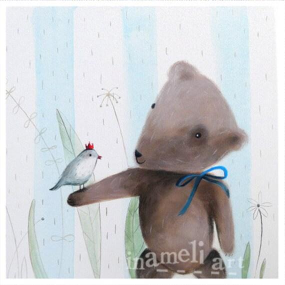 teddy bear art, Kid's Wall Art - Nursery decor- Playroom Decor - Nursery wall art - Whimsical animal illustration by inameliart