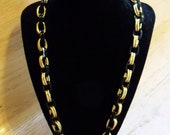 Vintage Necklace Black and Gold Tone Metal Wedding Jewellry Bridal Party Jewelry Special Occasions Gift Idea