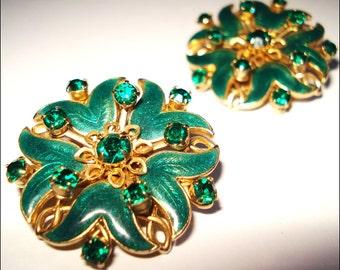 Vintage Earrings Rhinestone Sparkling Garden Party Green Enameled Cocktail Dress Rockabilly Mad Men Dress Mad Men Couture