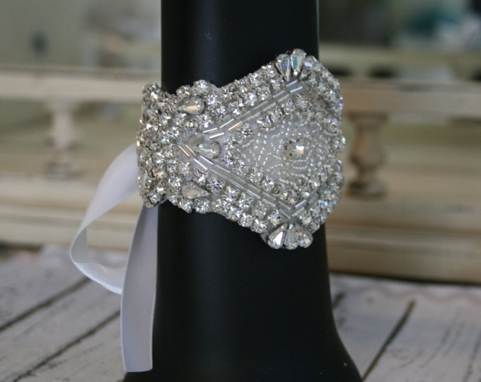 Rhinestone Bridal Bracelet with Silver Beading & Satin Ribbon Tie