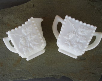 Westmoreland Beaded Grape Milk Glass Sugar and Creamer Set Vintage