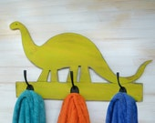 Dinosaur Towel Hook Wooden Dinosaur Decor Kids Bathroom Towel Hook Brachiosaurus Towel Hook