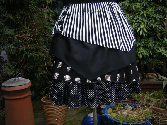 Black and white Pirate skirt  - 4 asymmetric layers skull & crossbones any size plus size