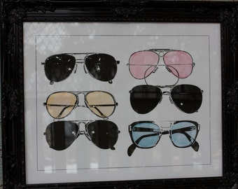 Aviator Sunglasses - Hand Pulled Screen Print with light watercolor washes - on 22x28 watercolor paper