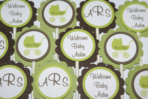 24 Elegant Carriage, Chic Damask Baby Shower Cupcake Toppers  - Brown & Green by The Party Paper Fairy (ECGB-1)