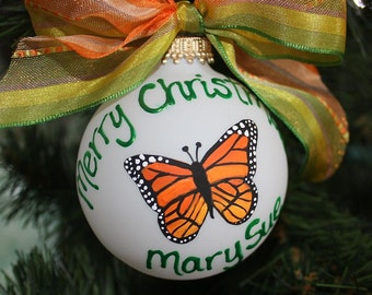 Monarch Butterfly Ornament Personalized and Handpainted Yellow and Orange Monarch Butterfly
