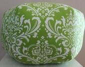 "24"" Ottoman Pouf Floor Pillow Lime Green Chartreuse Damask"