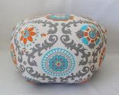 "24"" Ottoman Pouf Floor Pillow Rosa Mandarin"