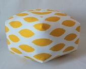 "24"" Ottoman Pouf Floor Pillow Yellow Ikat"
