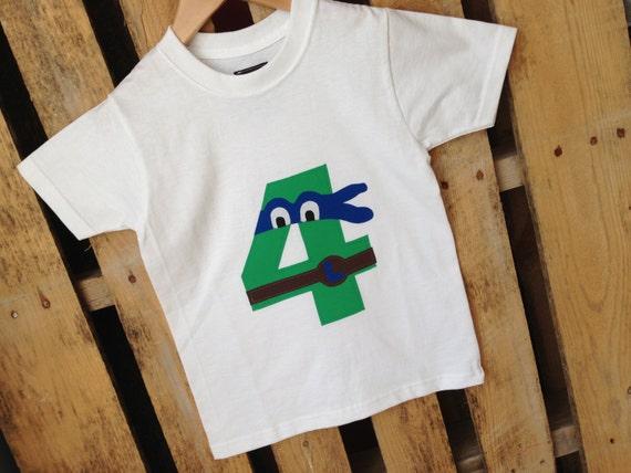 Blue Leonardo TMNT, Teenage Mutant Ninja Turtles birthday shirt Leonardo, Custom, Any Age or Size, Three, Four, Five, Six
