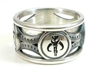 Mythosaur Skull Star Wars Silver Mens Ring - Mandalorian Symbol