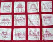 Antique Red and White embroidered Quilt Windowpane