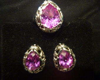 Platinum AMETHYST RING and EARRING Set