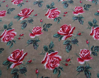Bronze Brown Red Aubrey Rose Flannel Fabric by Robin Pandolph 1/2 YARD
