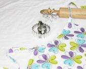 White N Purple Flowers Child Apron