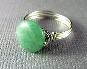 Wire Wrapped Ring Mint Green Aventurine Ring Silver Nickel Free Wire Wrapped Jewelry