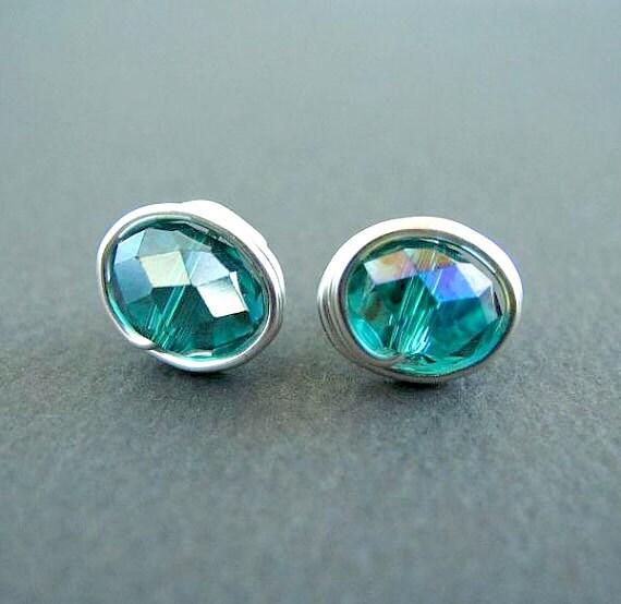 Wire Wrapped Earrings Small Stud Earrings Nickel Free Crystal Earrings Silver Wire Wrapped Jewelry Crystal Post Turquoise Earrings