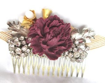 Wedding Hair Comb Hairpiece Bridal Jewelry Rustic Handmade Red Burgundy Silver Accessories