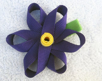 Sculpted Purple Spring Ribbon Flower Clip with Yellow Center - M2M Gymboree Easter Casual