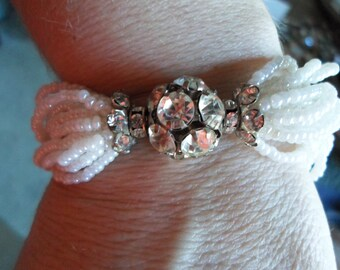 Vintage White Bridal Wedding Bracelet Seed Beads Clear Rhinestones Silver Tone 1940s to 1950s Glass