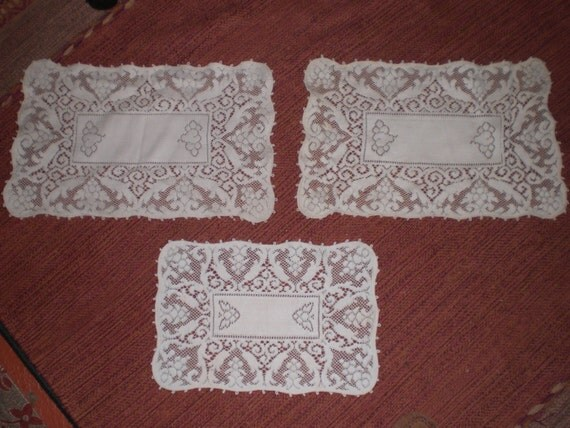 Vintage Furniture Doily Set Of Three 1940s To By