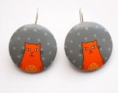 Grey polkadots with orange cat - Hand painted wooden earrings