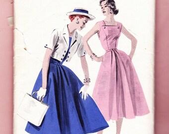 Butterick 7711 Vintage 1950s Misses  Sleeveless Dress W/Cropped Jacket Size 16 Pattern-3