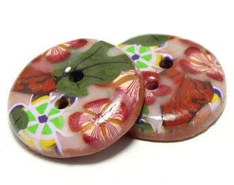 Polymer clay buttons - Four seasons, Autumn. Large, set of two