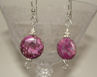 Charoite and Sterling Earrings