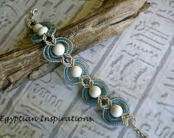 Micro macrame beaded bracelet in pale gray and teal. Macrame jewelry.