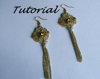 Micro macrame pattern tutorial. Easy beaded earrings pattern