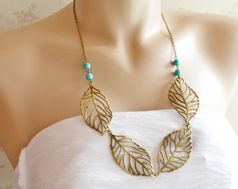 Leaf Necklace, Leaf Pendant Necklace, Bold Statement Necklace, Leaf Jewelry, Leaf Lariat Necklace, Leaf Jewelry,Turquoise Tree of  Life Gift