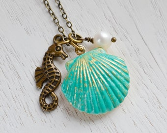 SeaShell Locket Pendant, Patina Jewelry, Patina Mermaids SeaShell Locket, SeaHorse Necklace, Locket Necklace, Ocean Inspired, Nautical, Clam