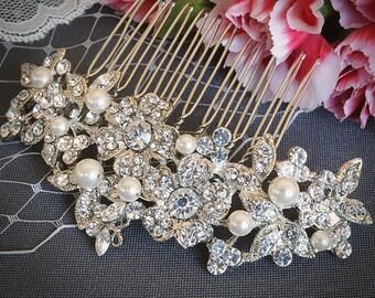 Crystal Bridal Hair Comb, Flower and Leaf Wedding Hair Comb, Rhinestone Bridal Headpiece, Swarovski Pearl Wedding Hair Accessories, RENNY