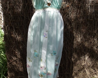 SALE,WAS 67.00,Seafoam Vintage Dress,Upcycled,Eco Friendly,Hand Painted Material,OOAK