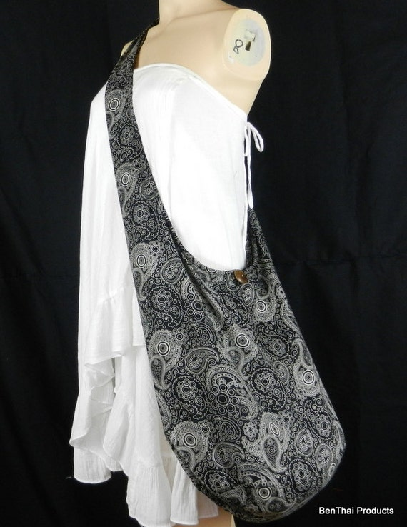Cotton Bag Purse Hippie Hobo Sling Crossbody Paisley Thai Monk Buddha XL 8 Colors Available