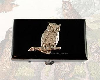 Pill Box Neo Victorian Owl on a Brach in Antique Silver Inlaid in Hand Painted Black Onyx Enamel Beetle  Rectangle Metal Box