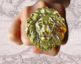 Verdigris Large Lions Head Big Ring Neo Victorian Safari Steampunk Large Leo Statement Ring with Adjustable Band