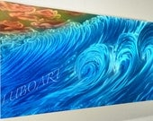 METAL painting art modern wall sculpture decor Original unique artwork Sea Greetings blue ocean wave Original hand made by Lubo Naydenov