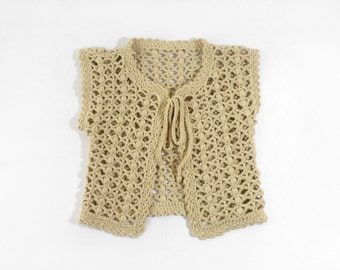 Crocheted Baby Girl Vest  - Beige, 1 - 2 years