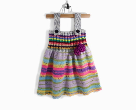 Knitted Girl Dress - Gray Multicolor, 4 - 5 years
